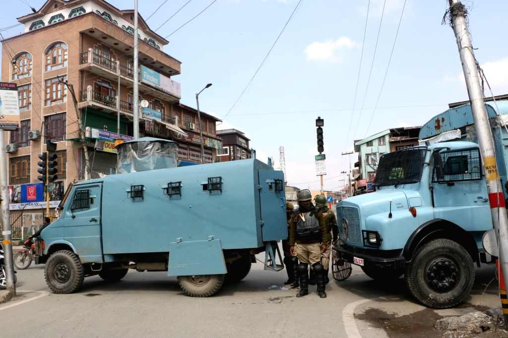 Srinagar: Security beefed up after restrictions were imposed ahead of post-Friday prayers protests that were called by separatists against the custodial death of Rizwan Asad Pandit, a 28-year-old private school teacher, in Srinagar on March 22, 2019.
