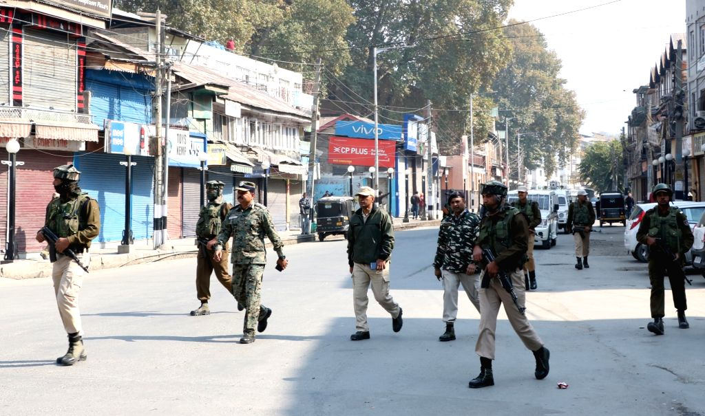 : Srinagar: Security beefed up and restrictions imposed in and around the city centre Lal Chowk to prevent a separatist march and sit-in; in Srinagar, on Oct 23, 2018. The separatists are protesting ...