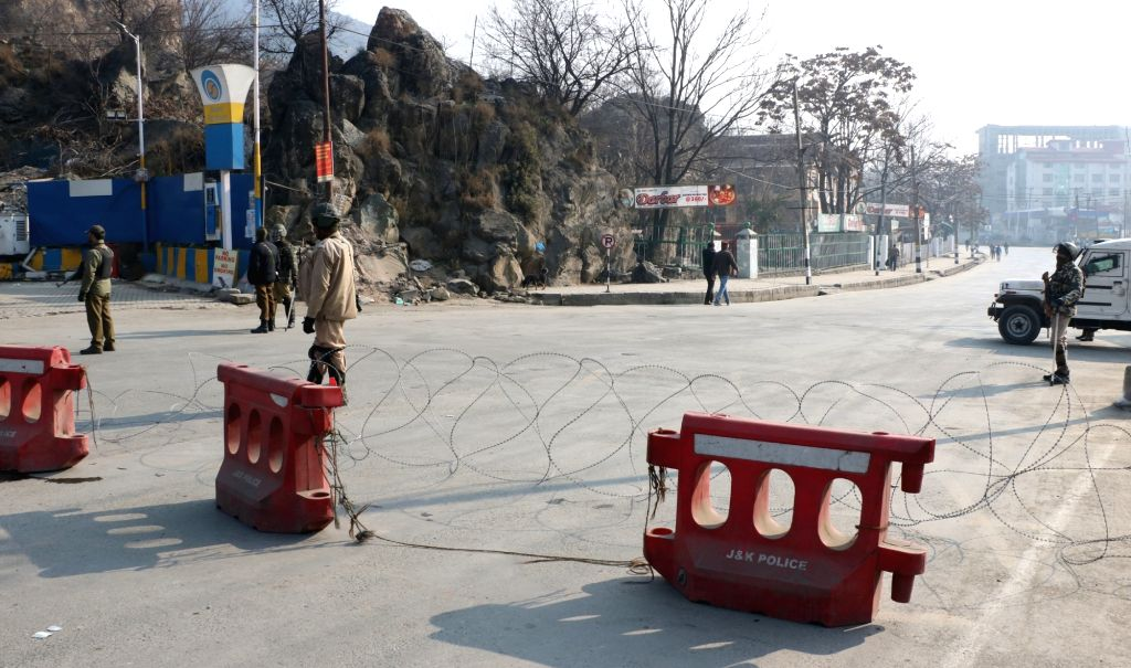 Srinagar: Security beefed up as authorities imposed curfew-like restrictions to prevent a separatist-called protest march against the civilian killings which took place in Pulwama district on the weekend, in Srinagar on Dec 17, 2018. (Photo: IANS)
