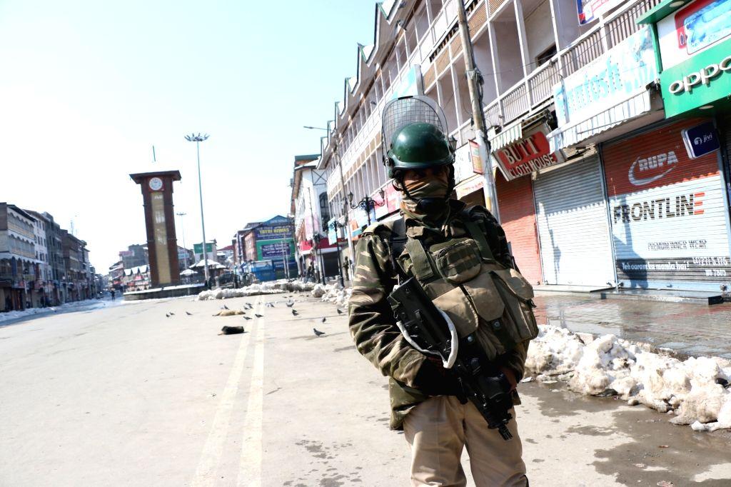 Srinagar: Security beefed up in parts of Srinagar as separatist-called shutdown to mark the sixth death anniversary of Parliament-attack mastermind Afzal Guru in Srinagar, on Feb 9, 2019. ...