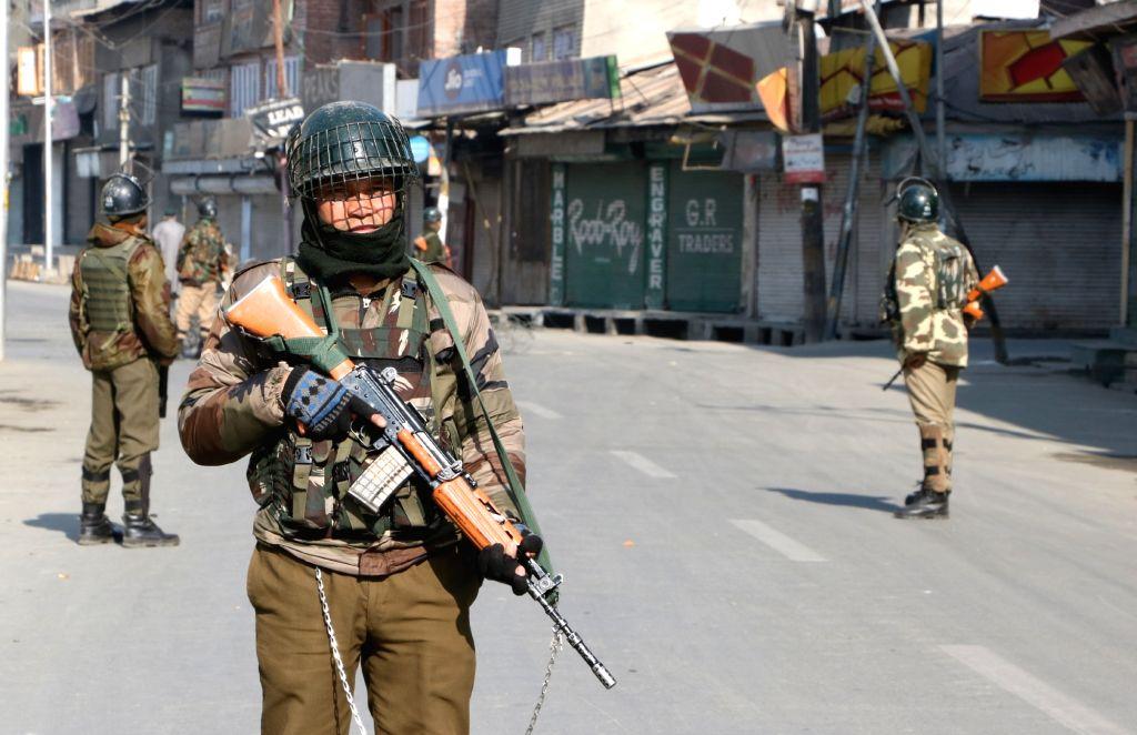 Srinagar: Security beefed up in Srinagar on the death anniversary of Parliament attack convict Afzal Guru on Feb 9, 2018. (Photo: IANS)