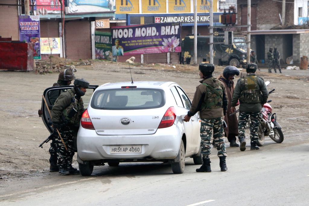 Srinagar: Security heightened on Srinagar-Jammu National Highway (NH-44) after 45 CRPF personnel were killed in a suicide attack carried out by militants in Pulwama yesterday; in Srinagar on Feb 15, 2019. (Photo: IANS)