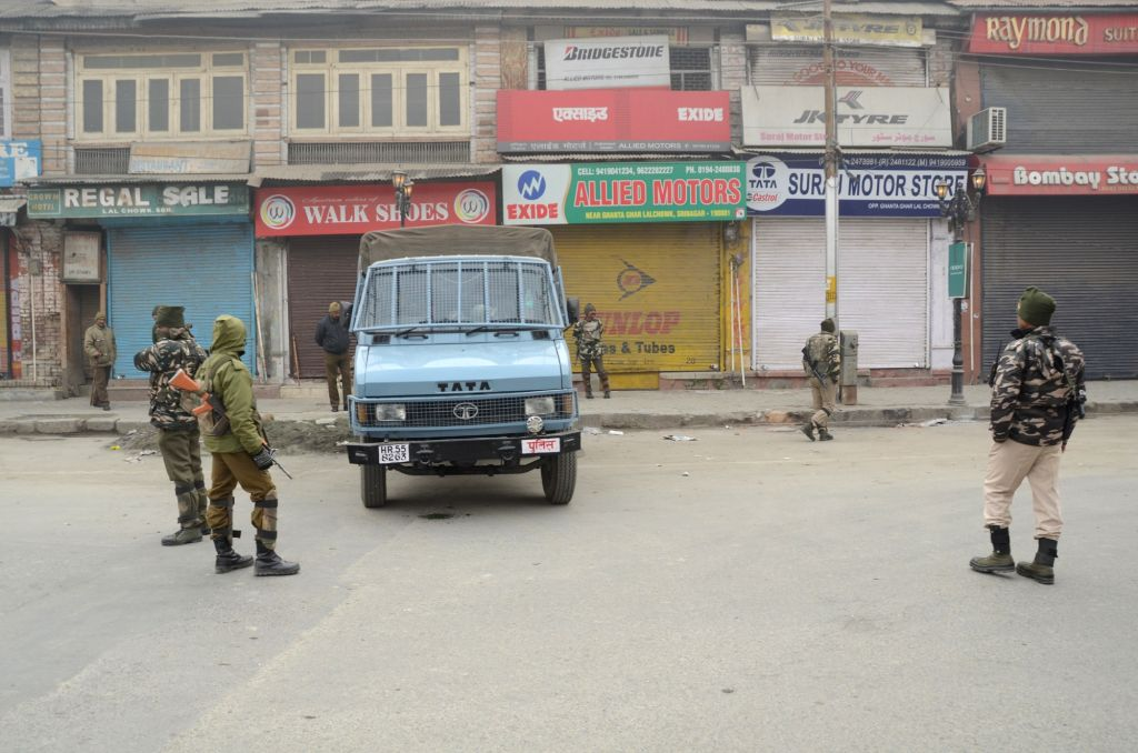Srinagar: Security personnel deployed on roads as restrictions were imposed in many parts of Srinagar to prevent a separatist-called protest march on Dec 10, 2017. The Joint Resistance Leadership (JRL), a separatist conglomerate, has called the prote