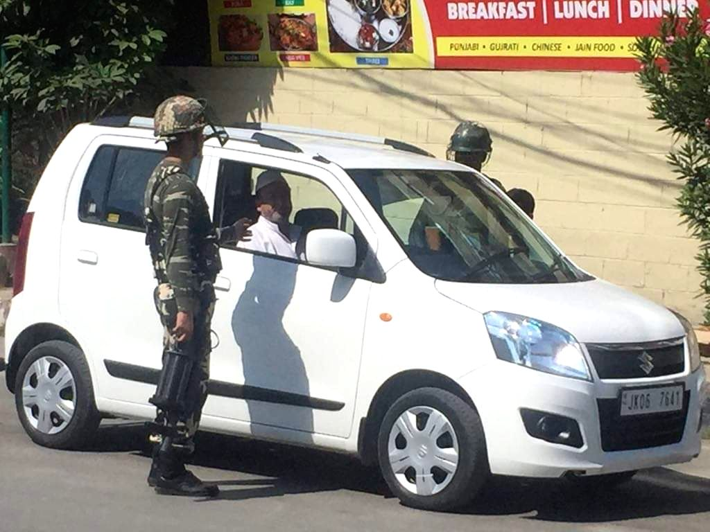 Srinagar: Soldiers deployed on the streets of Srinagar on Aug 13, 2019. (Photo: IANS)