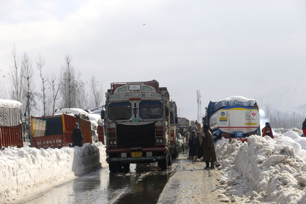 Srinagar: Stranded vehicles being allowed to move after the strategic Jammu-Srinagar highway was restored for traffic, on Jan 8, 2021. (Photo: IANS)