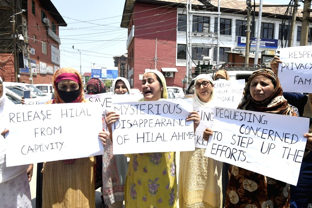 Srinagar: The family of missing Ph.D. scholar Hilal Ahmad who had gone to the Wangat area of the north Kashmir Ganderbal district on a trek with his friends on June 14 and went mising thereafter, stage a demonstration asking the authorities to help t