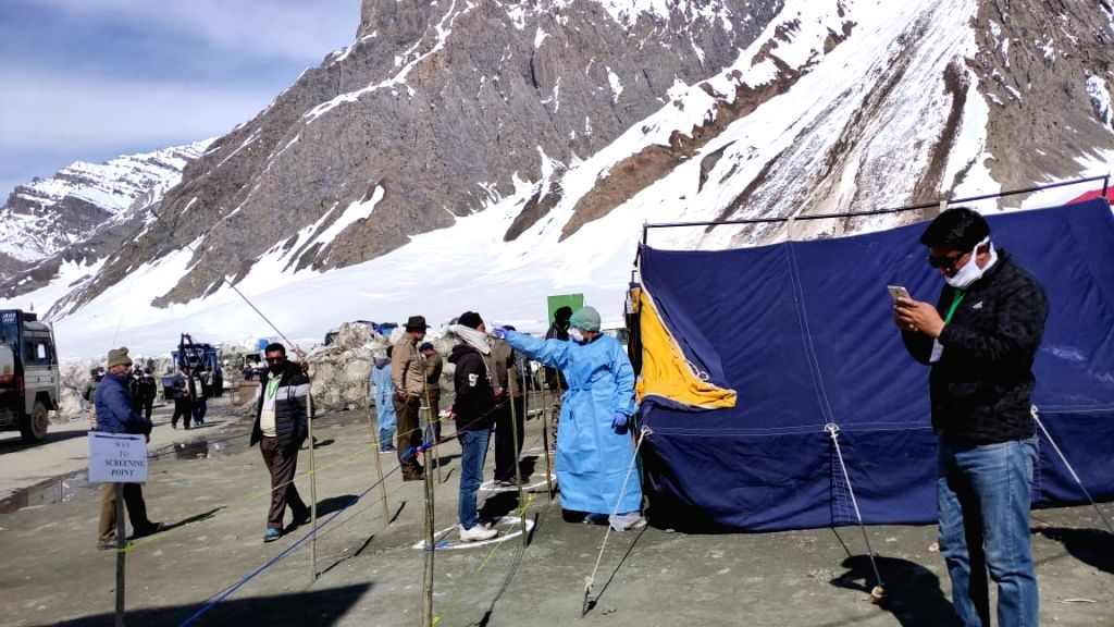 Srinagar: Truckers being screened for COVID-19 at the Srinagar-Leh National Highway that was reopened after four months, to be used only for augmenting supplies of essential commodities in the Ladakh region, on Apr 11, 2020. The 425-km highway was cl