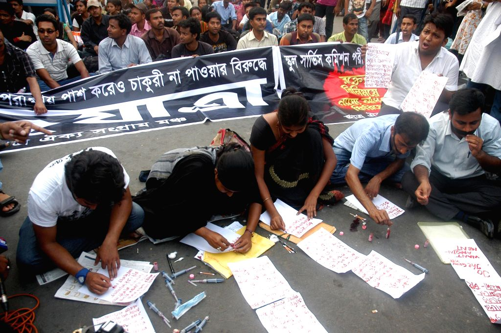 SSC students demonstrate against West Bengal Government in Kolkata on April 18, 2014.