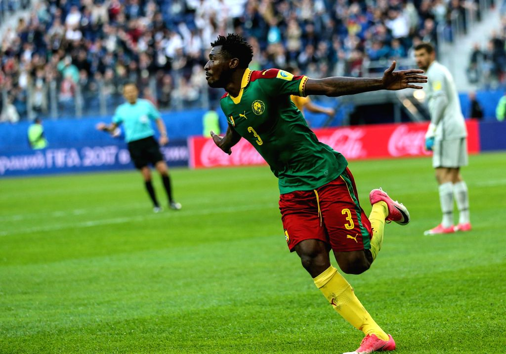 ST.Andre Zambo of Cameroon celebrates scoring during the group B match between Cameroon and Australia at the 2017 FIFA Confederations Cup in St. Petersburg, ...