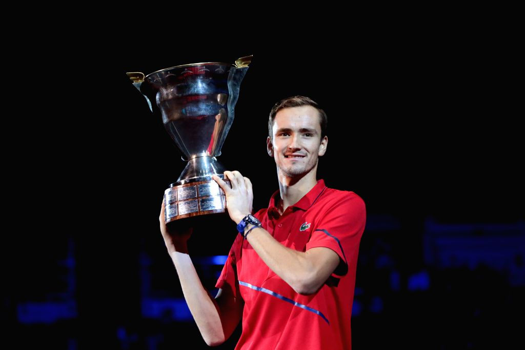 ST.Daniil Medvedev of Russia poses with the trophy during the awarding ceremony after the final match against Borna Coric of Croatia at St. Petersburg Open ATP ...
