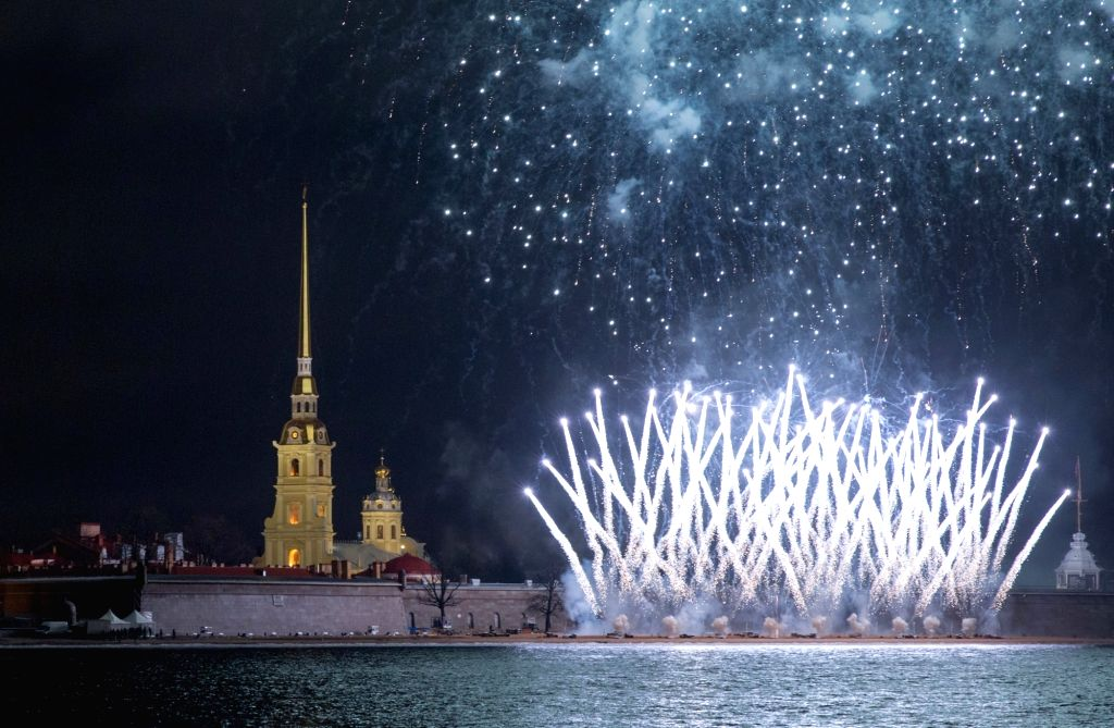 ST.Fireworks explode to celebrate the Orthodox Christmas in St. Petersburg, Russia, Jan. 7, 2020.