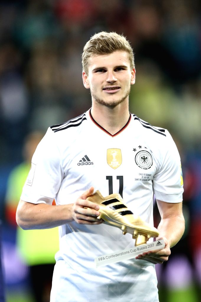 ST.Golden Boot winner Timo Werner of Germany shows his trophy during the awarding ceremony after the final match between Chile and Germany at the 2017 FIFA ...