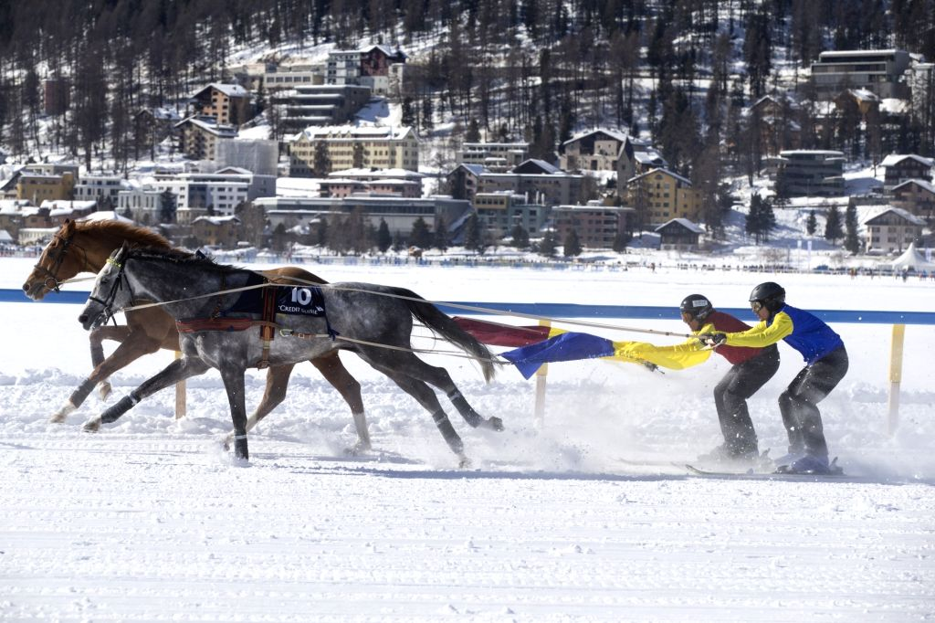 ST.Horsemen compete on the frozen lake on the third weekend of the White Turf races in St. Moritz, Switzerland,  Feb. 17, 2019.