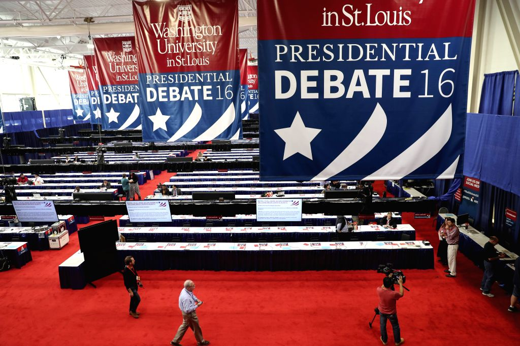 ST.Journalists work at the media hall for the second presidential debate at Washington University in St. Louis, Missouri, the United States, Oct. 8, 2016. The second ...