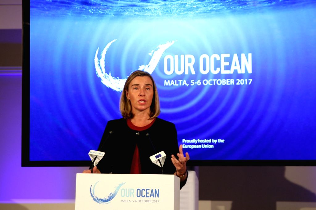ST. JULIAN'S (MALTA), Oct. 5, 2017 EU foreign policy chief Federica Mogherini addresses a joint press conference of Our Ocean Conference 2017 in St. Julian's, Malta, on Oct. 5, 2017. The ...