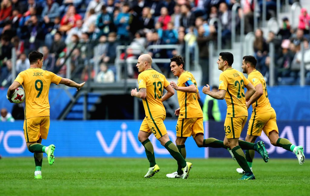 ST.Mark Milligan (C) of Australia celebrates after scoring in a penatly shoot during the group B match between Cameroon and Australia at the 2017 FIFA ...