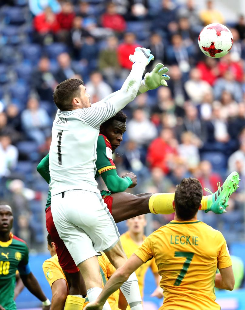 ST.Maty Ryan (Top), goalkeeper of Australia saves during the group B match between Cameroon and Australia at the 2017 FIFA Confederations Cup in St. Petersburg, ...