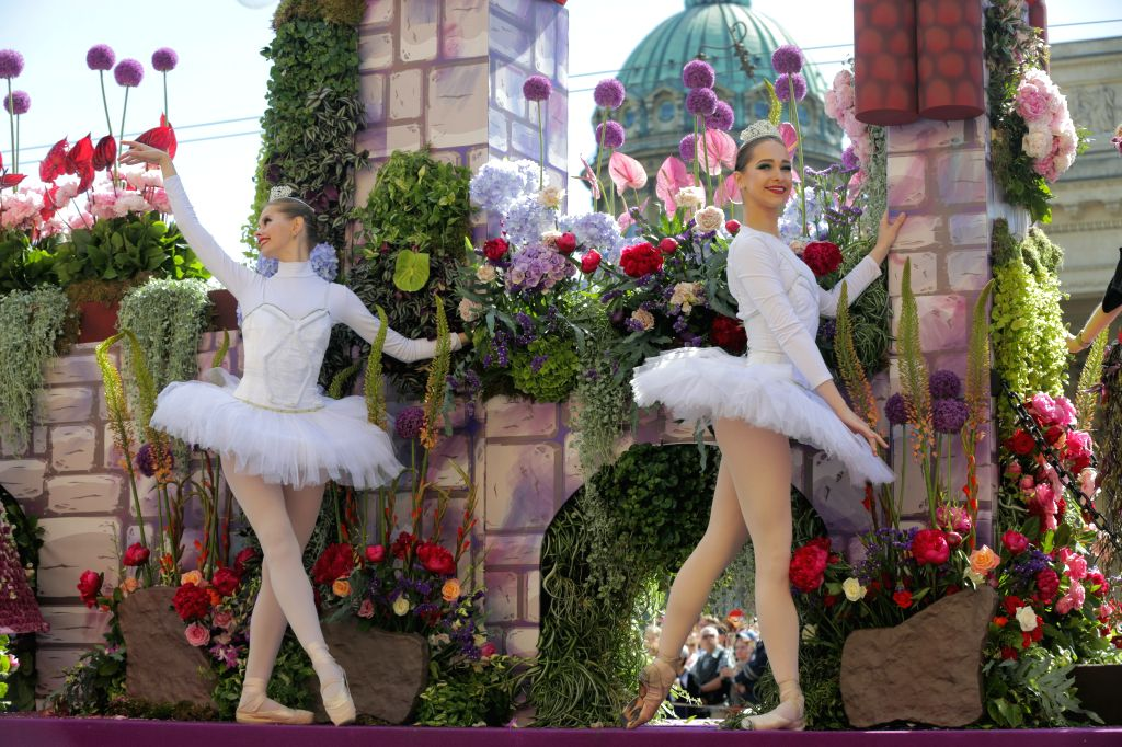 ST.People take part in a flower parade to celebrate Russia Day in St. Petersburg, Russia, June 12, 2019. Russia Day marks the date when the First Congress of ...