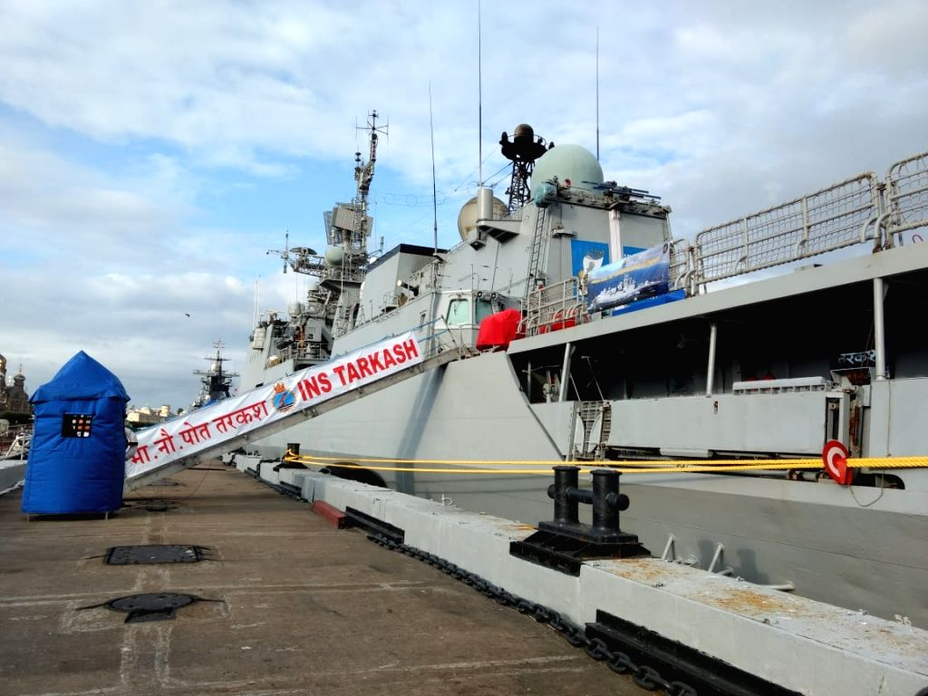 St. Petersburg: Indian Naval Ship (INS) Tarkash arrives at the Lt Schmidt Embankment to participate in the the Russian Navy Day Parade 2019, in St. Petersburg, Russia on July 26, 2019.