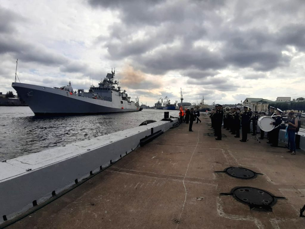 St. Petersburg: Indian Naval Ship (INS) Tarkash accorded a warm reception on its arrival to participate in the the Russian Navy Day Parade 2019, at the Lt Schmidt Embankment in St. Petersburg, Russia ...