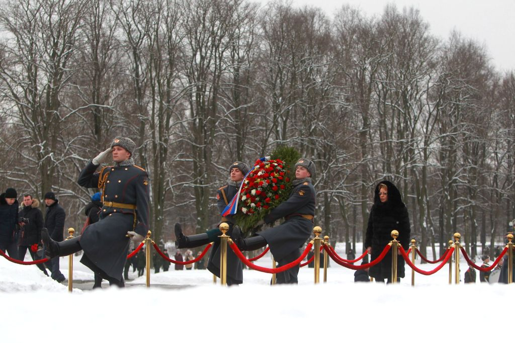 ST.Valentina Matviyenko (1st R), chairwoman of the Federation Council of the Russian Federation, attends a ceremony to mark the 71st anniversary of the end of ..