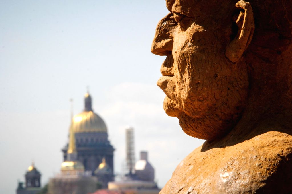 ST.Photo taken on July 17, 2014 shows a sand sculpture displayed during the international festival of sand sculptures in St.Petersburg, Russia. (Xinhua/IANS) ...