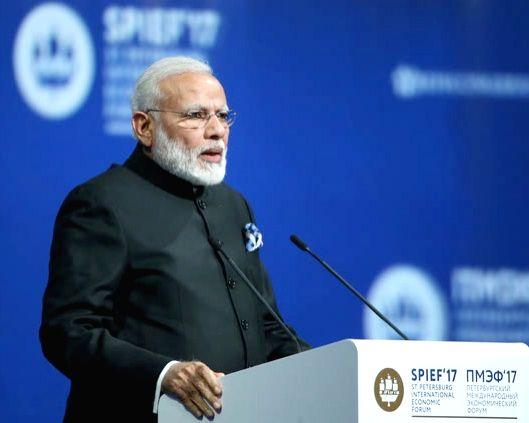 St. Petersburg: Prime Minister Narendra Modi addresses at the plenary session of St. Petersburg International Economic Forum (SPIEF2017) in St. Petersburg, Russia on June 2, 2017. - Narendra Modi