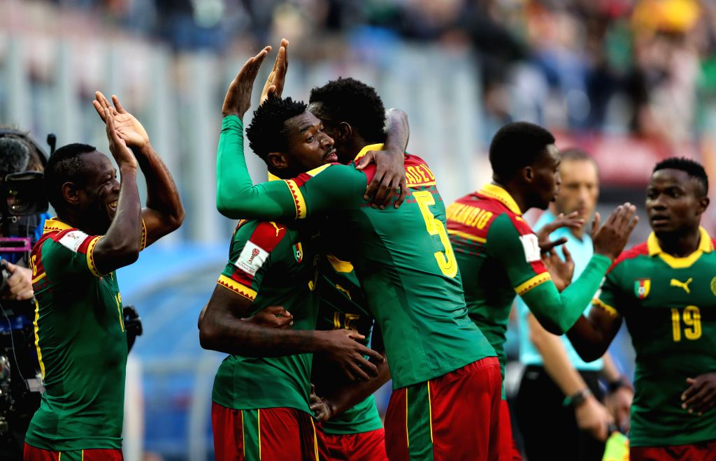 ST.Players of Cameroon celebrate scoring during the group B match between Cameroon and Australia at the 2017 FIFA Confederations Cup in St. Petersburg, Russia, ...
