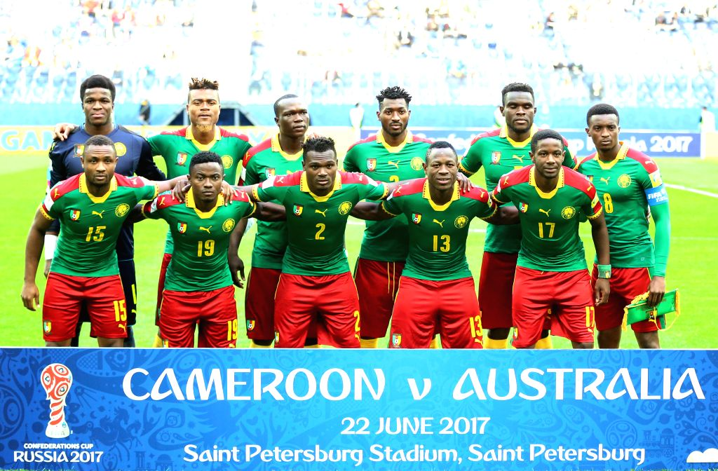 ST.Players of Cameroon line up ahead of the group B match between Cameroon and Australia at the 2017 FIFA Confederations Cup in St. Petersburg, Russia, on June ...