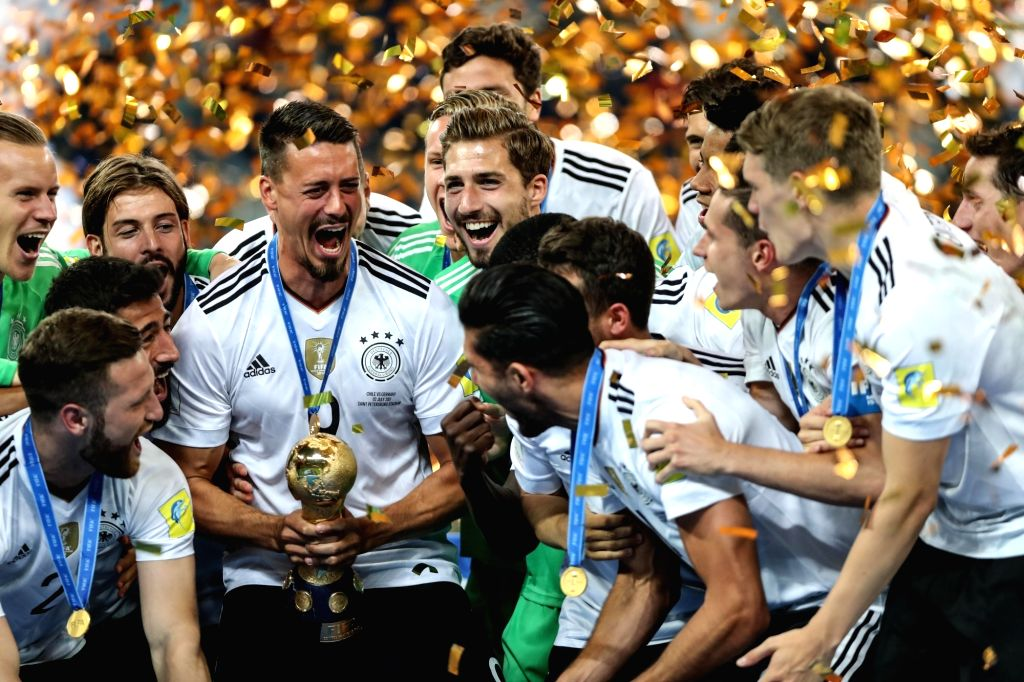 ST.Players of Germany celebrate during the awarding ceremony after the final match between Chile and Germany at the 2017 FIFA Confederations Cup in St. ...