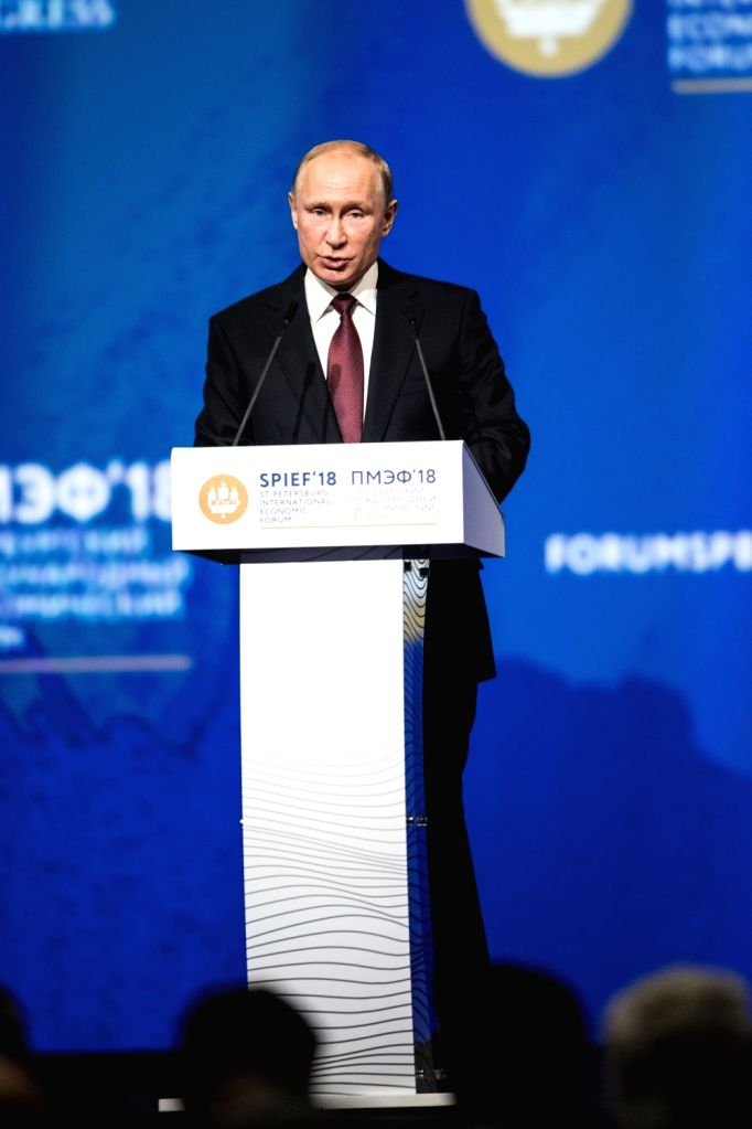 ST.Russian President Vladimir Putin addresses a plenary session during the 22nd St. Petersburg International Economic Forum (SPIEF) in St. Petersburg, May 25, ...