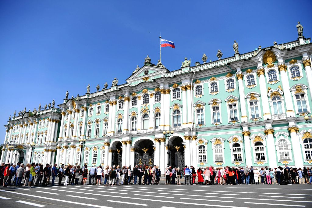 ST.Tourists line up to visit the State Hermitage Museum in St. Petersburg, Russia, June 4, 2019. St. Petersburg is Russia's second largest city.