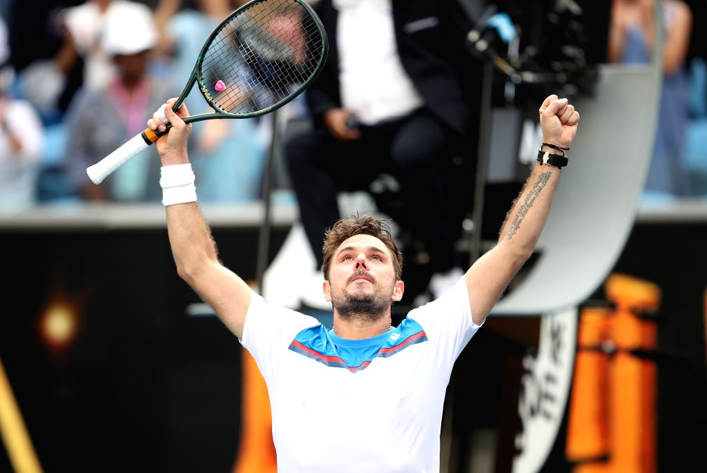 Stan Wawrinka celebrates victory after the men's single's fourth round match between Stan Wawrinka of Switzerland and Daniil Medvedev of Russia at the Australian ...