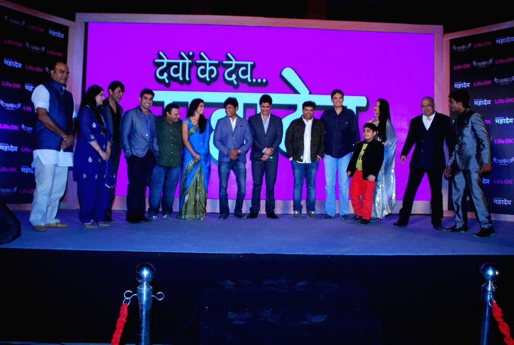 Star cast of TV serial Devon Ke Dev... Mahadev during the launch of Life Ok new serial Mahakumbh in Mumbai, on Dec 5, 2014.