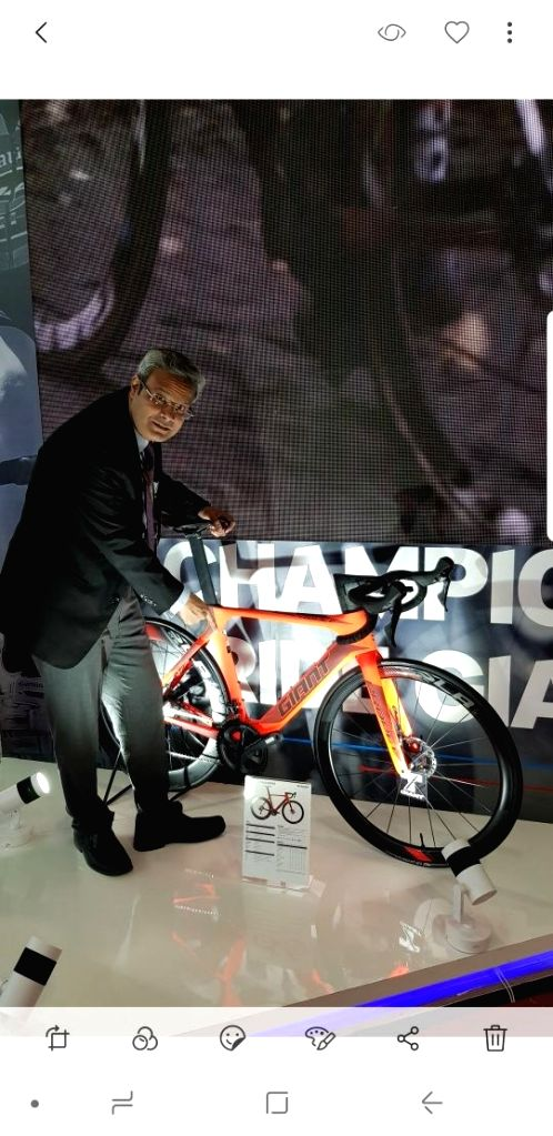 Starkenn Sports Pvt Ltd MD and CEO Pravin V Patil unveils Giant Propel Advanced Disc bicycles at the Auto Expo 2018 on Feb 8, 2018. - Pravin V Patil