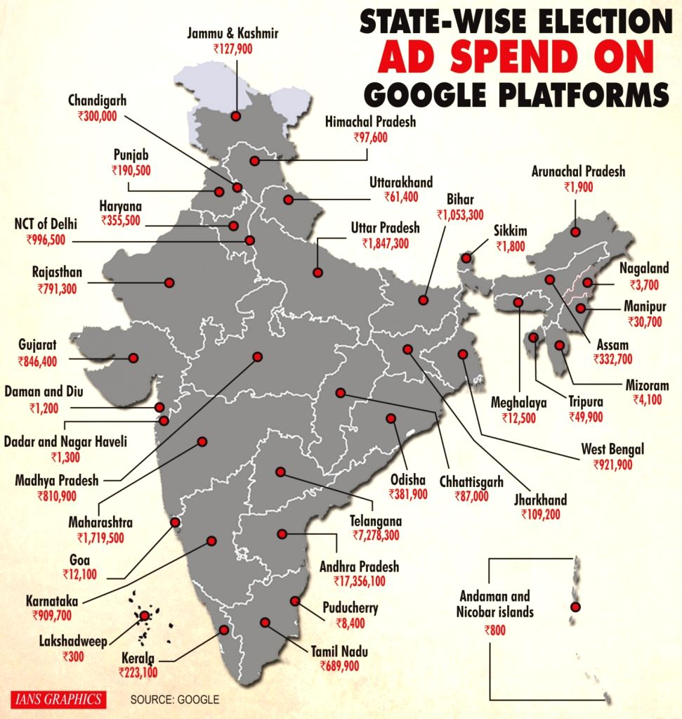 State-wise election ad spend on Google platforms. (IANS Infographics)