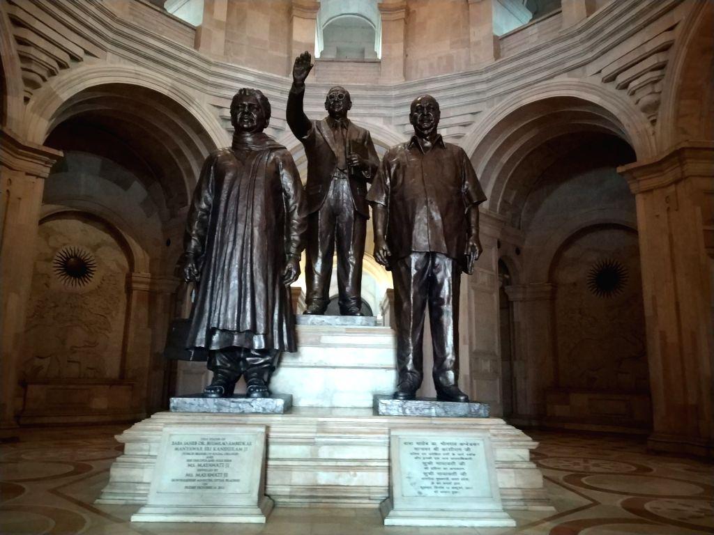 Statues of Dalit leaders BR Ambedkar, Kanshi Ram and Mayawati at Dalit Prerna Sthal in Noida on Feb 8, 2019. (File Photo: IANS)