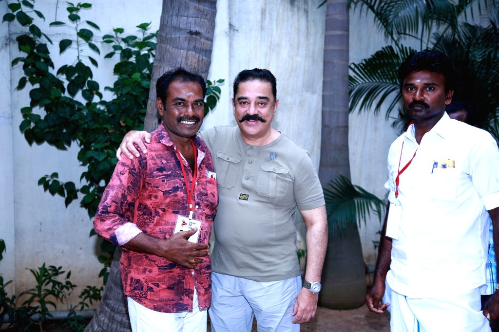 Sterlite protestor Sivakumar meets Makkal Needhi Maiam chief Kamal Haasan in Chennai on July 24, 2018.