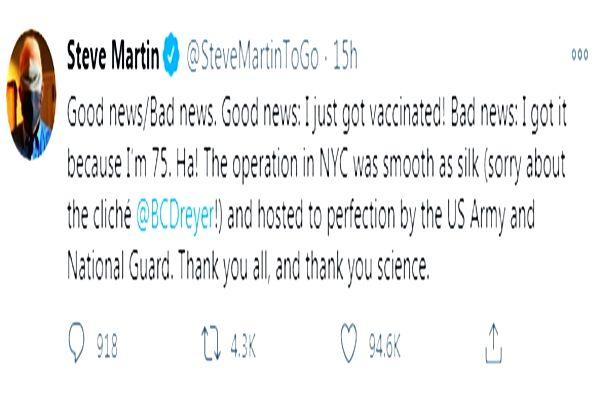 Steve Martin's 'good news/bad news' about getting Covid vax shot.(photo:twitter)