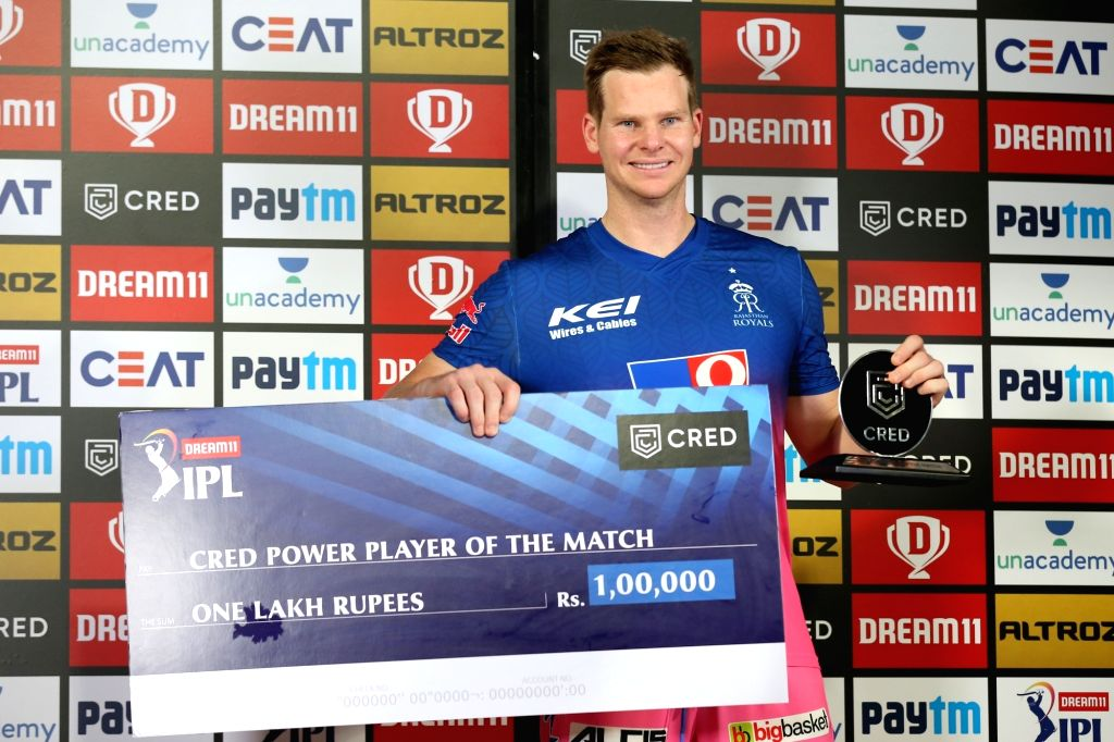 Steve Smith captain of Rajasthan Royals received cred power play of the match award during match 9 of season 13 of the Indian Premier League (IPL) between Rajasthan Royals and Kings XI ...