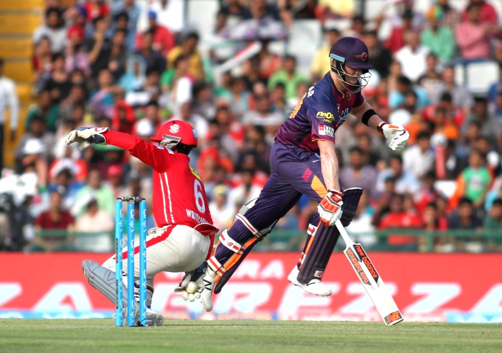 Steven Smith of Rising Pune Supergiants in action during an IPL match between Kings XI Punjab and Rising Pune Supergiants at Punjab Cricket Association IS Bindra Stadium in Mohali on ...