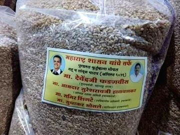 Stickers with photos of Chief Minister Devendra Fadnavis and BJP MLA from Ichalkaranji, Suresh Halvankar seen affixed on relief materials being supplied to the flood-hit lakhs in Sangli and ... - Devendra Fadnavis