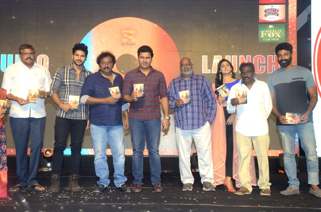 "Stills from audio launch of his upcoming film ""Juvva"" in Hyderabad."