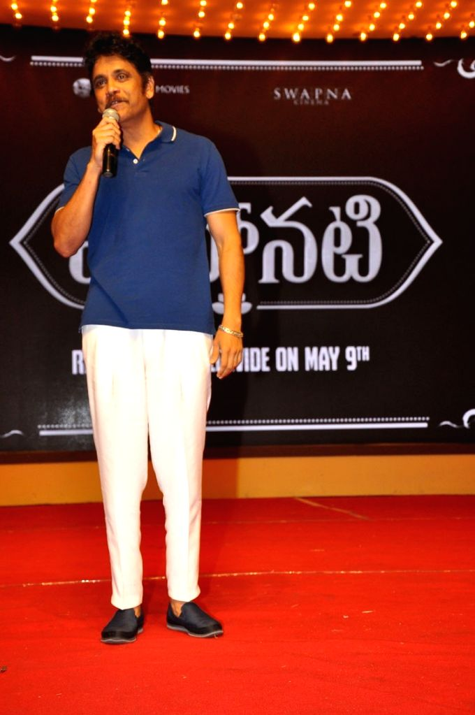 "Stills from audio launch of his upcoming film ""Mahanati"" in Hyderabad."