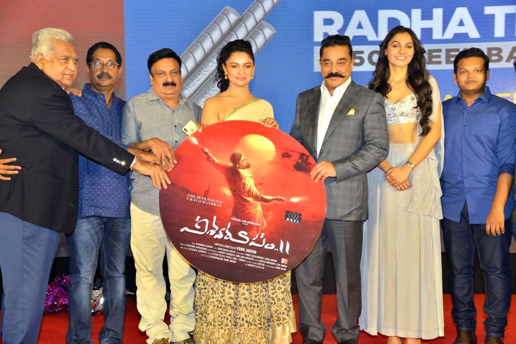 """Stills from audio launch of his upcoming film """"Vishwaroopam 2"""" in Hyderabad."""