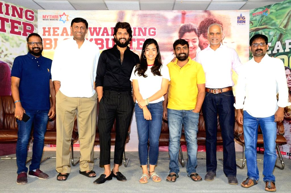 Stills from Telugu film Dear Comrade Press Meet in Hyderabad.