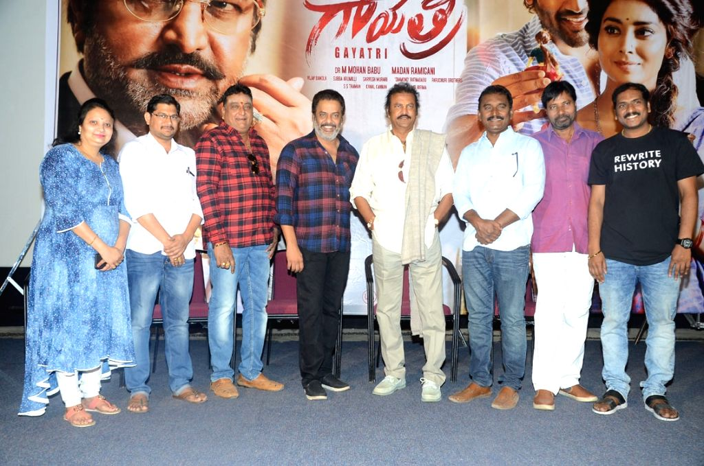 "Stills from Telugu film ""Gayathri"" press meet in Hyderabad."