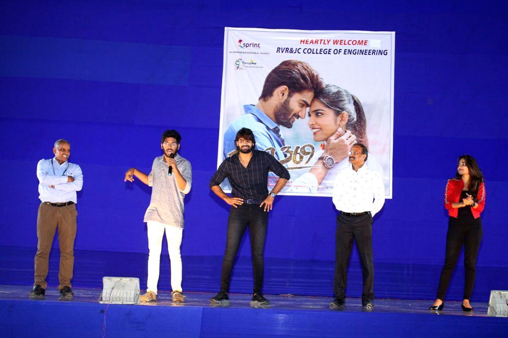 """Stills from Telugu film """"Guna 369"""" promotions at JC College in Hyderabad."""