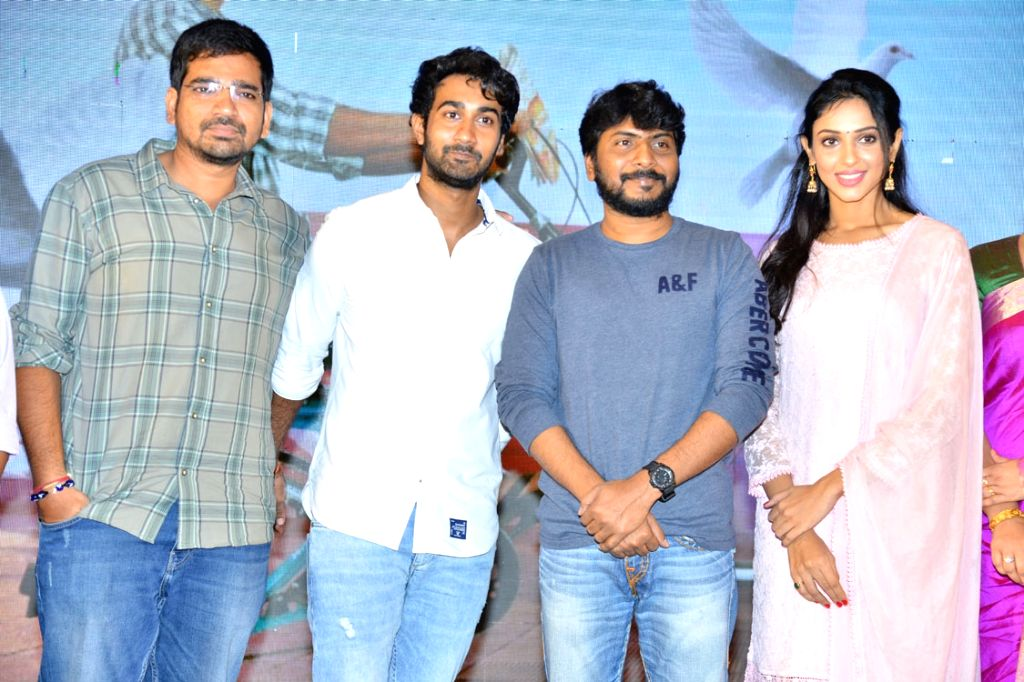 Stills from telugu film 'Paper Boy' teaser launch in Hyderabad.
