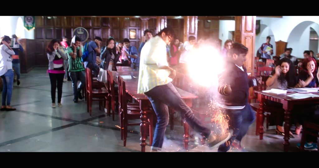 "Stills from Telugu film ""Rajaratham"" in Hyderabad."